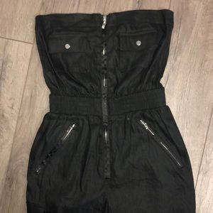Bebe Black Tube Top Zipper Romper Jumper Jumpsuit
